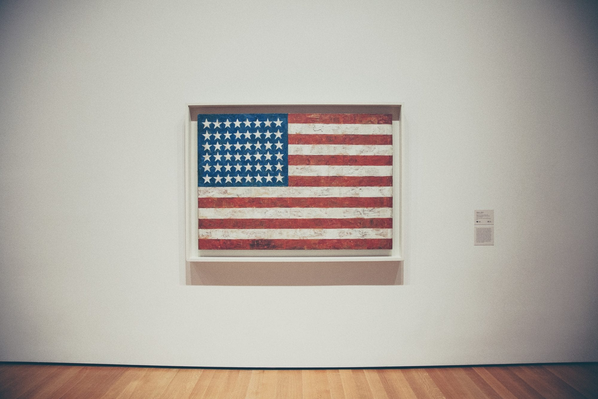 American flag on museum wall