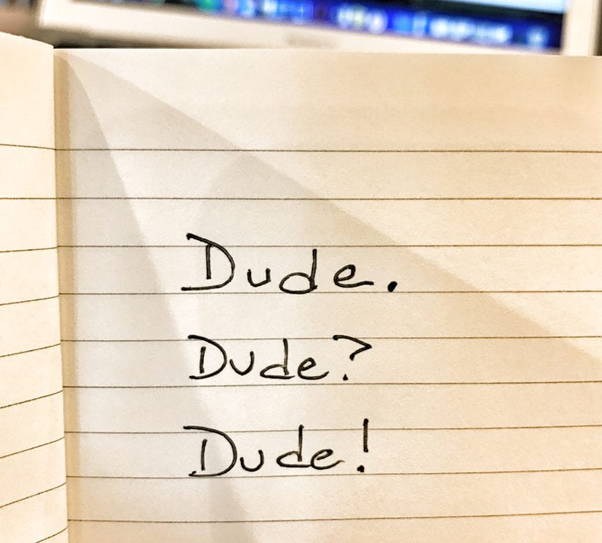 three words on notebook paper dude. dude? dude!