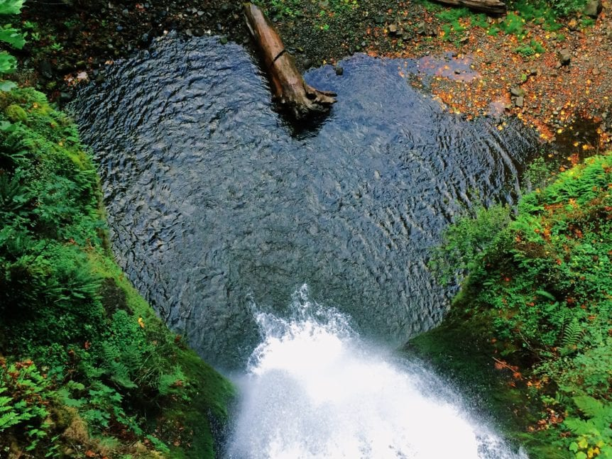 lake and waterfall form heart shape
