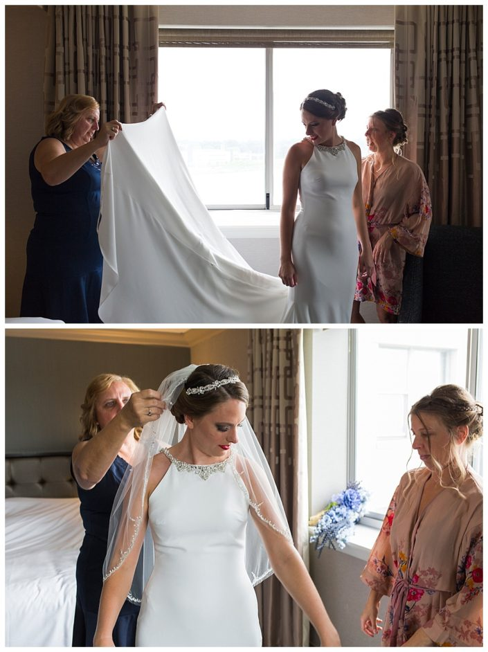 bride getting ready for wedding in philly