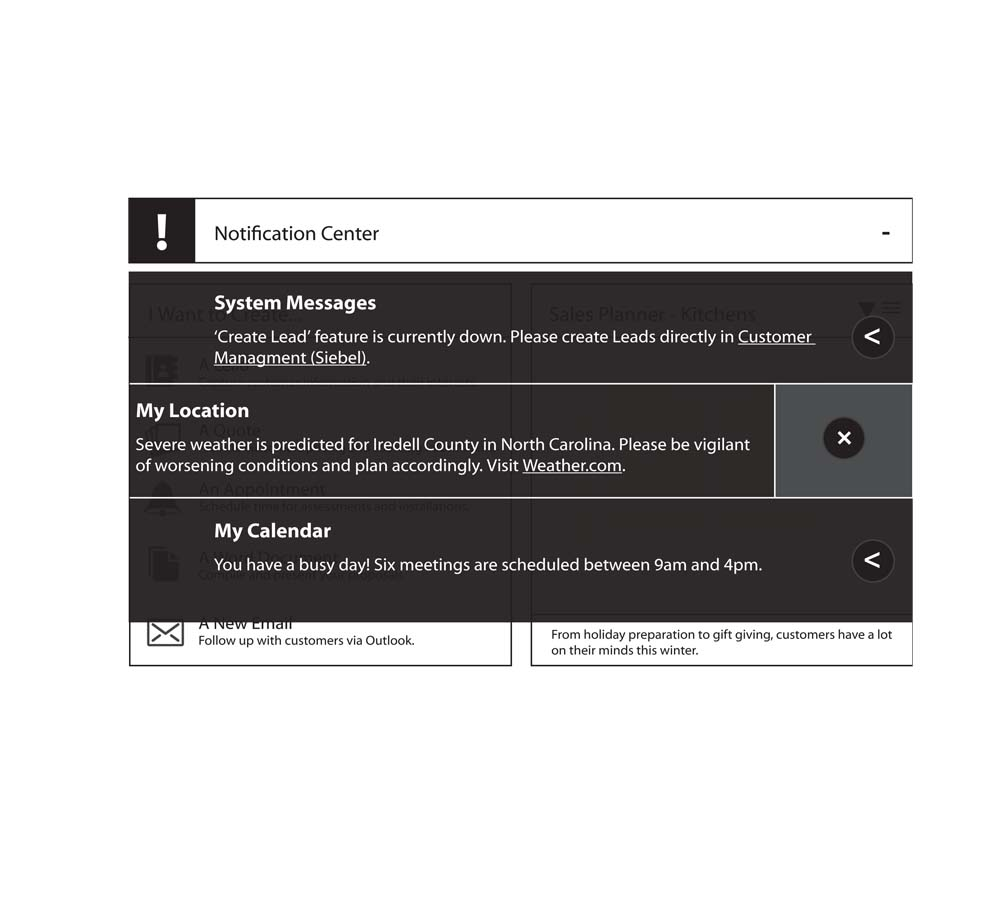 Notification Wireframe