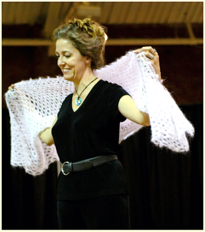 Vashti models the Weightless Wrap, a winner of the 2010 CGOA Design Contest