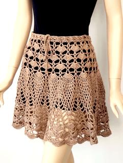 Birthday Girl Skirt in our own Lustrous Tan Lotus yarn