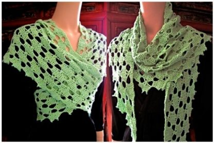 2 views of wrap-sized Frostyflakes crocheted in a light spring green color