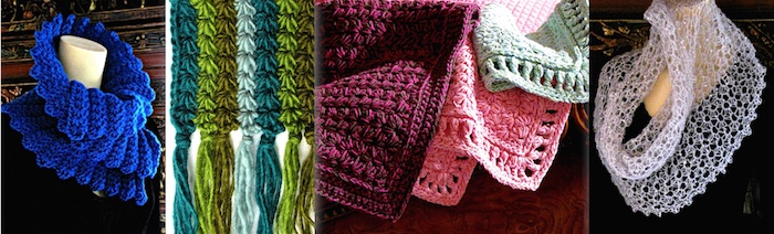 Four kinds of star stitches: corrugated cowl, striped scarf, quilt-like coverlet, sheer glittery lace capelet.