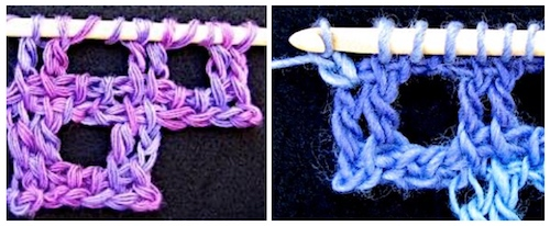 Yarn tests for stitch close up photos: color, plying, thickness, etc.