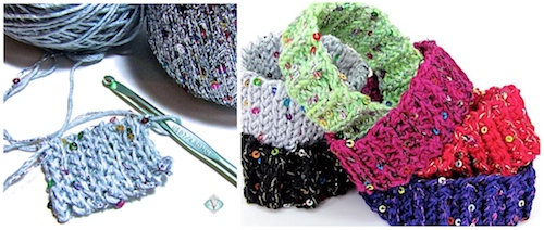 Several Kinds of Easy Crochet Ribs for Stretchy Holiday Bling Bam Bangles
