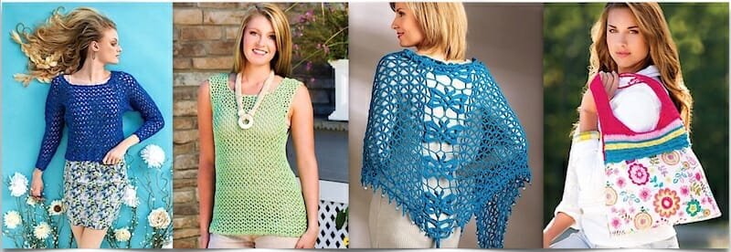 Two new crochet top patterns by Doris Chan and two by Jennifer Ryan (an Irish knot wrap and a multicolored tote)