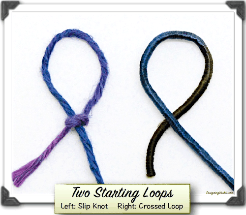 Classic Slip Knot on left, Crossed Loop on right.