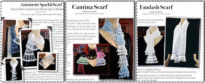 Sister filet scarves: Antoinette Sparklescarf, Emdash, and Cantina Party Flounces