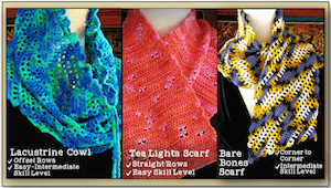 Lcustrine Cowl, Tea Lights, and Bare Bones scarves.