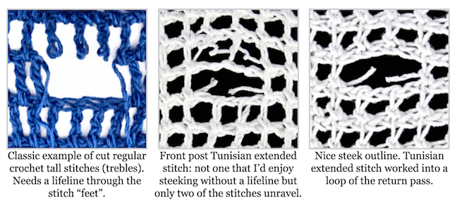 Regular treble crochet stitches, front post Tunisian stitches, and an extended Tunisian stitch pattern.