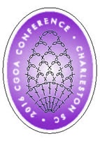 Purple oval with stitch symbols of pineapple lace and words 2016 CGOA CONFERENCE - CHARLESTON SC