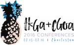 """Pineapple drawing with """"TKGA+CGOA 2016 CONFERENCES""""; in 2016 the knitting and crochet guilds held a joint conference."""