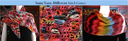 Misti Alpaca Hand Paint yarn in Tunisian, freeform love knots game, and color-stacked slip stitch mobius!
