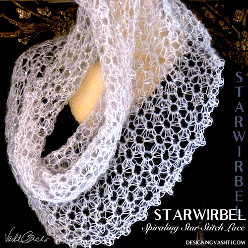 Crochet class image for Starwirbel webby veil-like star stitch lace