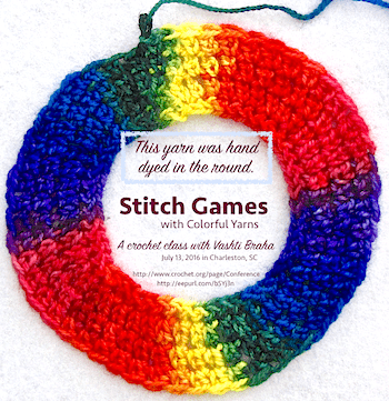 "The original announcement for the 2016 ""Stitch Games"" class; a ring of stacked rainbow colors!"
