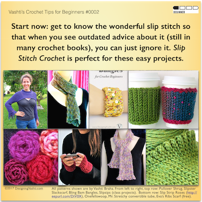 Beginner Crochet tip: tune out the fake facts still being circulated about our most basic and versatile crochet stitch, the slip stitch!