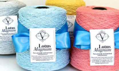 The Lotus Magnum Cone delivers a full two pounds of Lotus yarn!