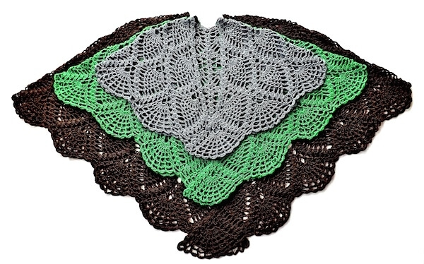 Doris Chan's pineapple lace jacket and wrap design shown here in 3 sizes and Lotus colors.
