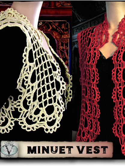 Minuet Vest pattern: regular traditional filet on the left, Tunisian filet on the right (red vest).