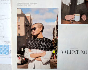 """Sleek black lace crew-neck capelet for daytime urban streetwear (Oct. 2016 Valentino ad for """"Glamgloss"""" sunglasses)"""