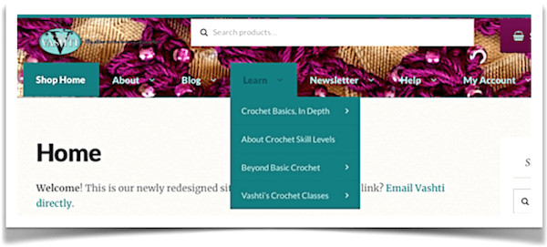 "My crochet tutorials and tips (eventually all ten years' worth!) are now brought together under the ""Learn"" tab at the top of every page of the new DesigningVashti website."