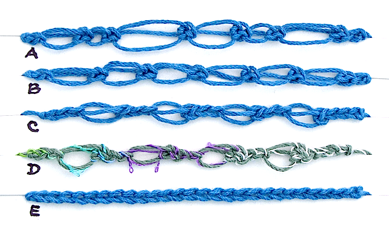 A diagram of 5 foundation stitch swatches: Love Knots of different vs same sizes, separated by chains, a novelty yarn, and plain chain stitches for contrast.