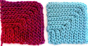 Mitered Slip Stitch Rib: the invisible increases are stacked in one corner.
