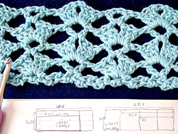My swatch in Crystal Blue DesigningVashti Lotus yarn, and sketches of scarf and yarn amount options