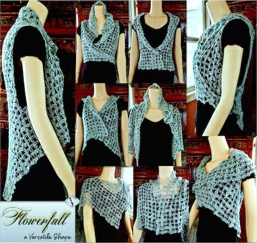 Flowerfall Vest is a versatile shape that can be worn several different ways. Nine shown here.