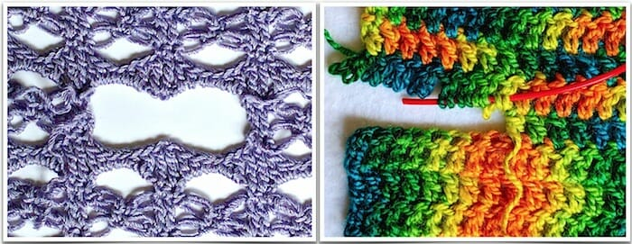 Love knots removed on the left; row of double crochet on the right, which need a lifeline (in red).