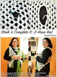 A chunky lace vest that can be completed in 2 hours because you create armholes later with quick steeks (cutting).