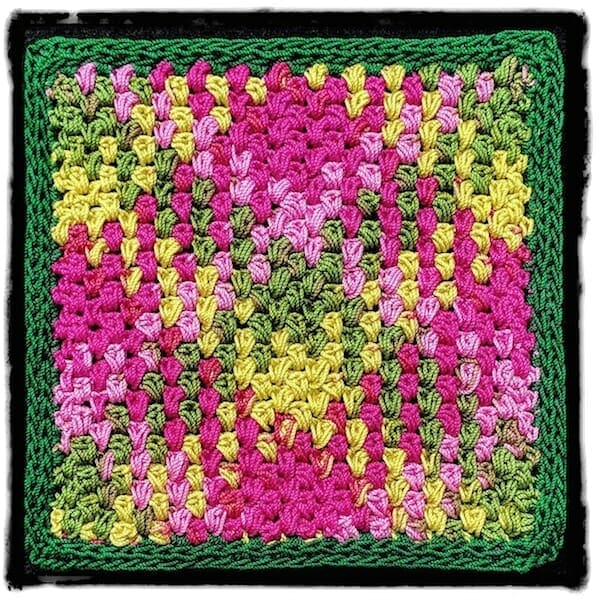 Moss Stitch (linen, granite, seed stitch) modified for longer crochet thread color sequences.
