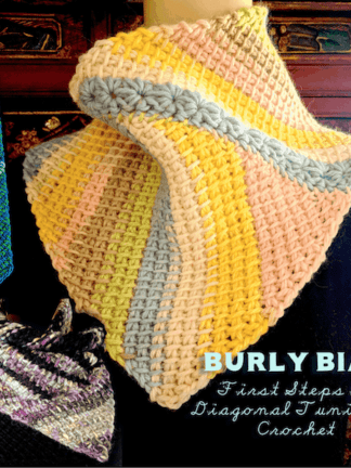 Three of many beginner-level diagonal Tunisian crochet scarves in this pattern: skinny pointed tie, star-seamed asymmetrical cowl, Fibonacci scarf.