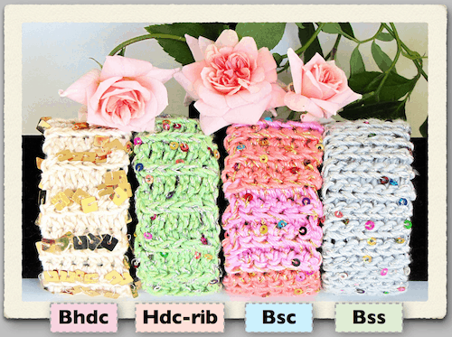 Beginner slide-on bracelet cuffs in four simple ribbed stitches