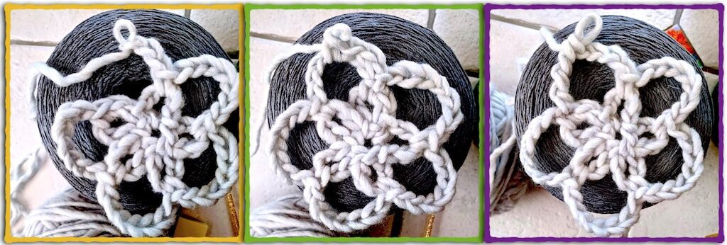 Mesh round shown with a slip stitch join versus a tall stitch join.