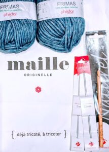 Souvenir yarn and 3 crochet hooks (size 2mm, 2.5mm, and 7mm) from Phildar yarn shop in Paris