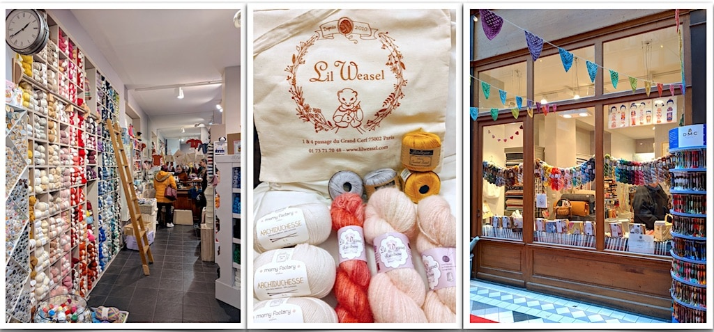 Three views of a Parisian yarn shop: inside, outside, and my souvenir purchases with tote bag