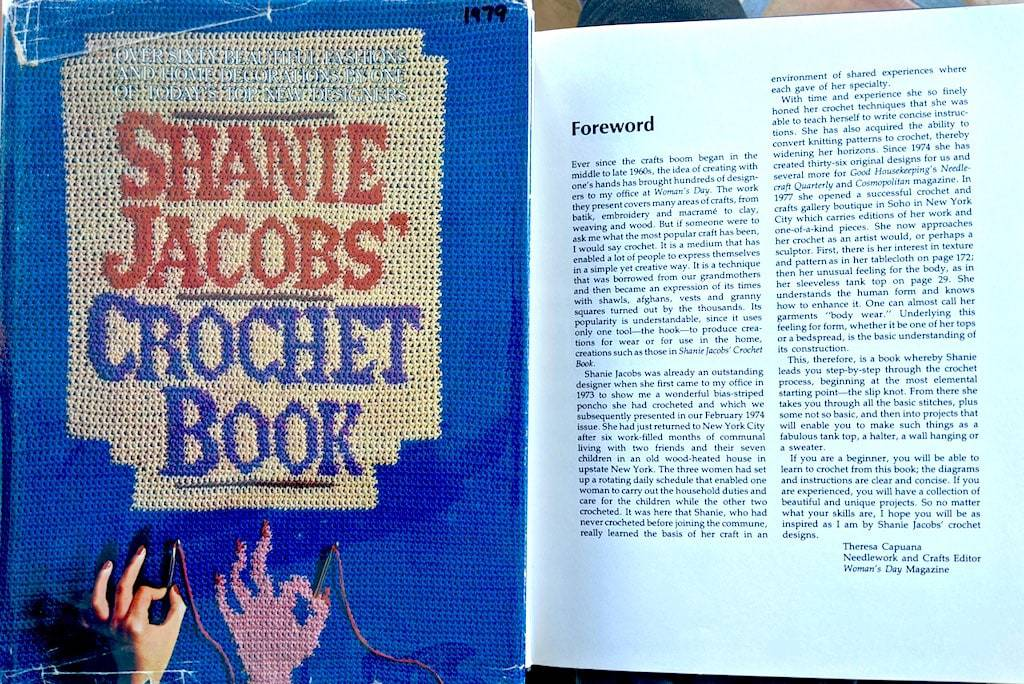Editor of Theresa Capuana describes Shanie Jacobs' crochet retreat; book cover design is crocheted.