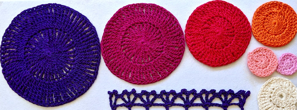 Six crochet circles in graduated sizes of tall stitches from half double crochets up to quadrupel trebles.