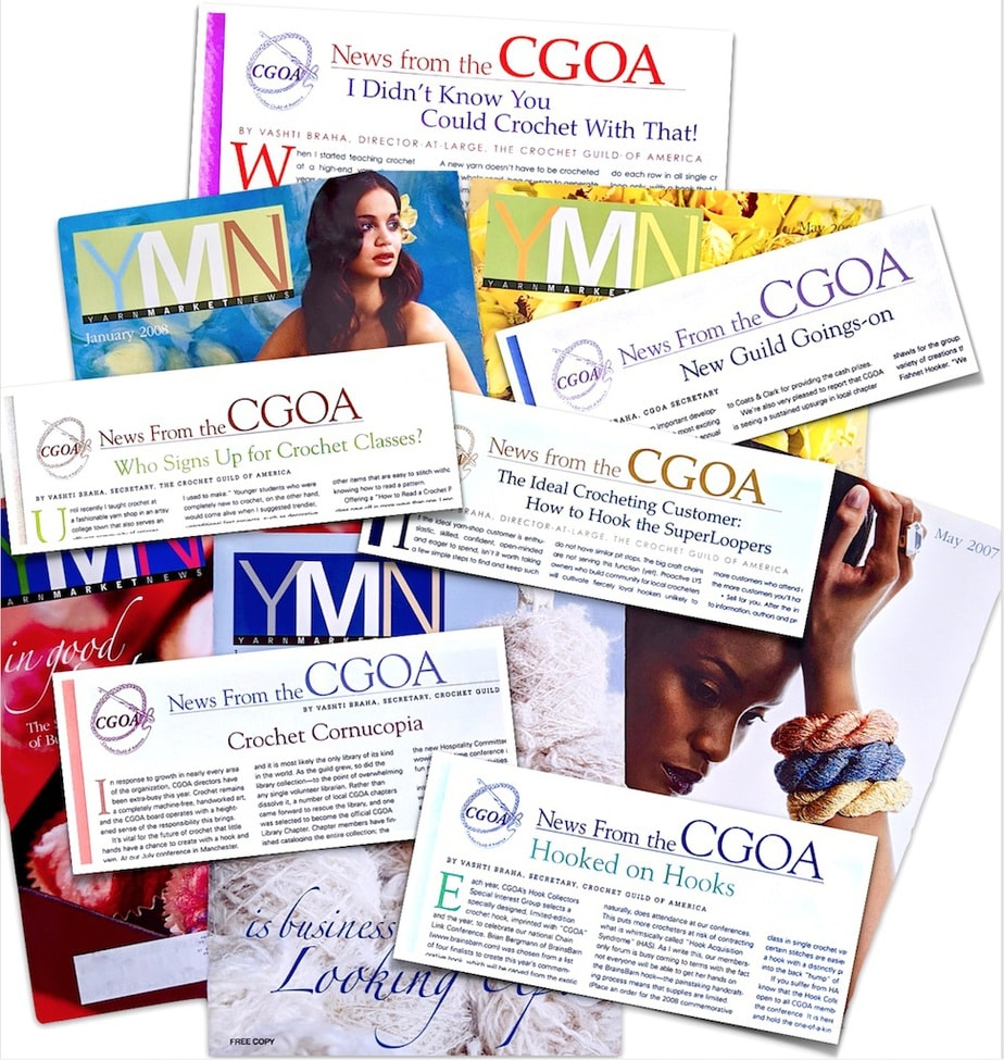 I used a CGOA column to provide crochet advice for yarn shops in six Yarn Market News issues - five covers from 2007-2009 shown