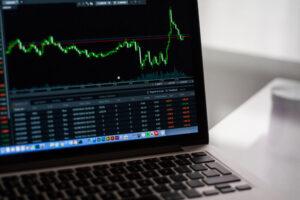stocks on laptop
