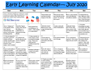 July Early Literacy Calendar