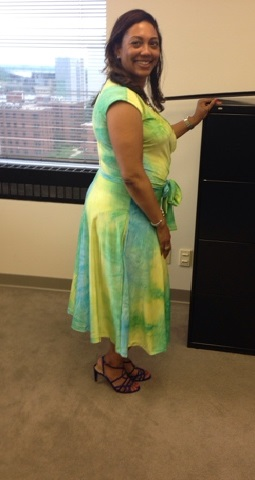 Bright and Sunny Inside with a Faux Wrap Dress Vogue 1027