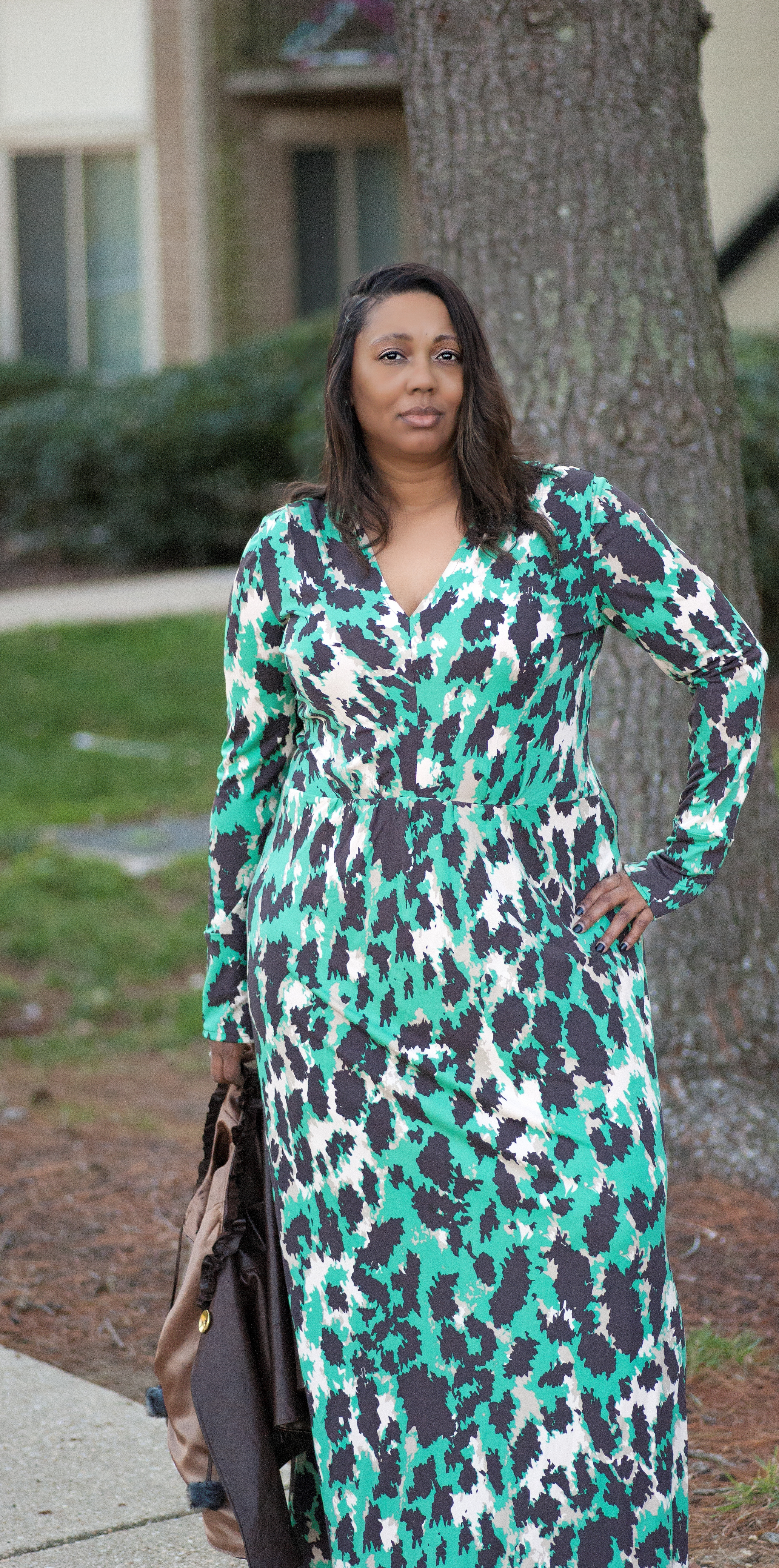 Silk Leopard Maxi Dress made with Vogue 8921