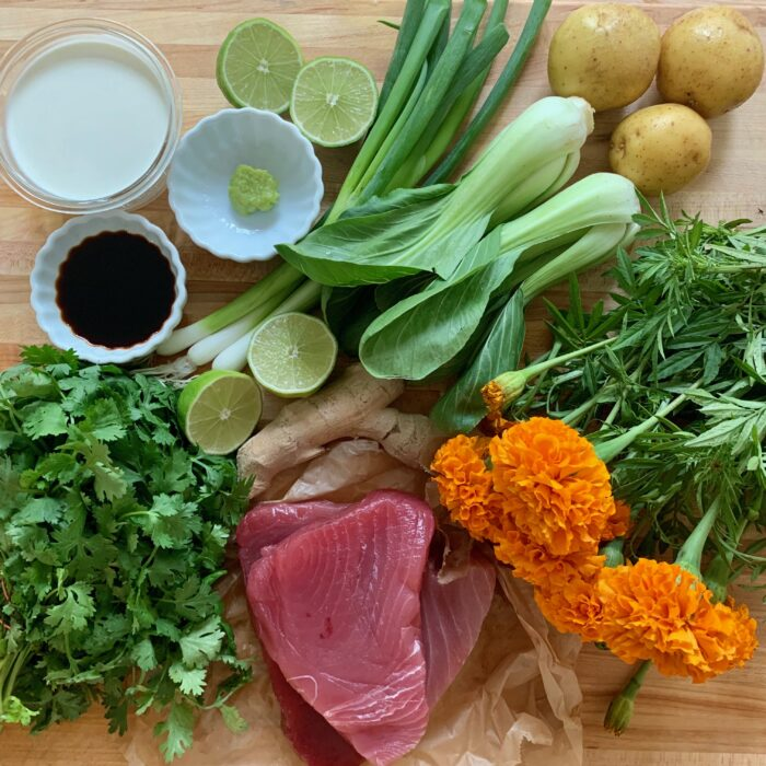 Tuna with lime cilantro sauce