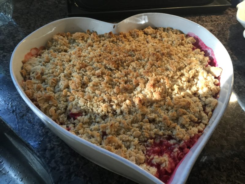 Plum or Rhubarb and Strawberry Crumble or Apple and Berry Crumble (really whatever you have lying around)