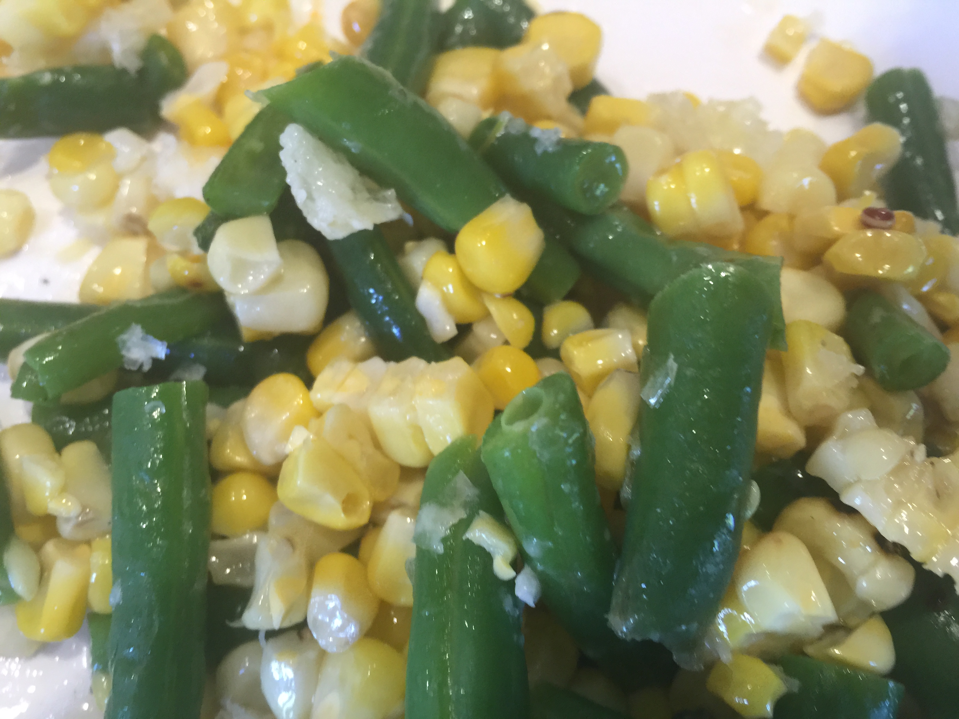 Green Beans with Roasted Corn and Manchego