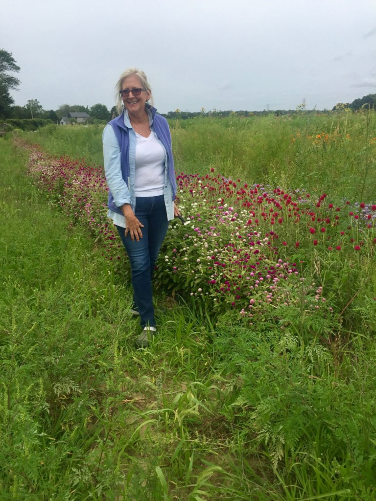 Denise with Cutting Flowers on Amber Waves Farm